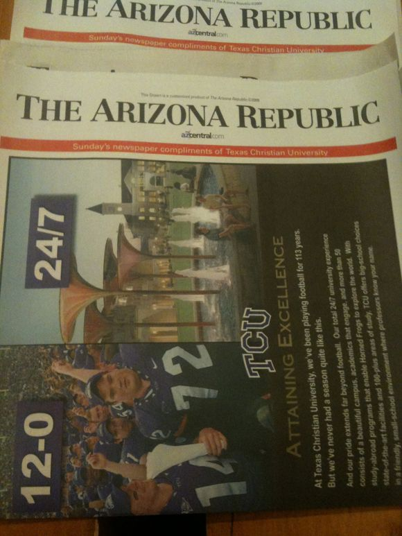 TCU is front-page news in Phoenix